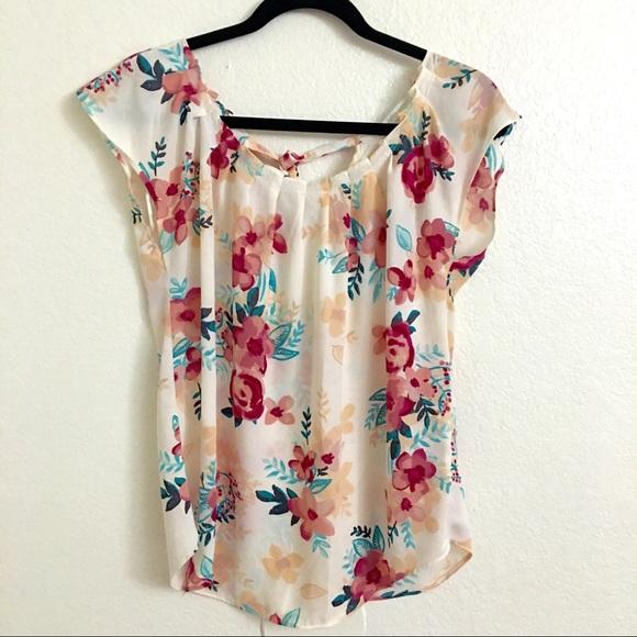 09431c6ec5a00 Lauren Conrad Pleat Neck Floral Blouse Top